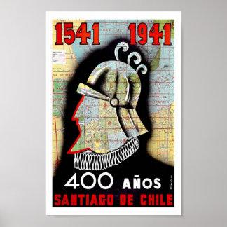 Poster del viaje del vintage de Santiago Chile Sur