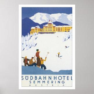 Poster del viaje del vintage de Semmering del