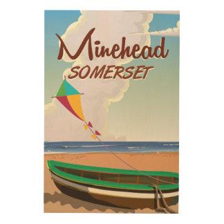 Poster del viaje del vintage de Somerset de la Impresión En Madera