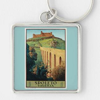 Poster del viaje del vintage de Spoleto Vmbria Llavero Cuadrado Plateado