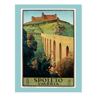 Poster del viaje del vintage de Spoleto Vmbria Postales