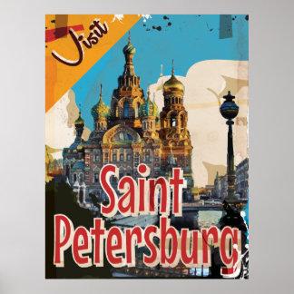 Poster del viaje del vintage de St Petersburg,