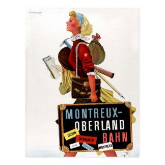 Poster del viaje del vintage de Suiza Postal