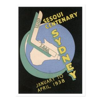 Poster del viaje del vintage de Sydney, Centennial Tarjetas Postales