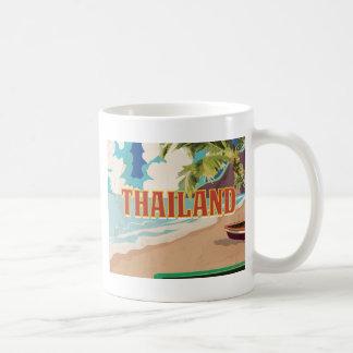 Poster del viaje del vintage de Tailandia Taza Básica Blanca