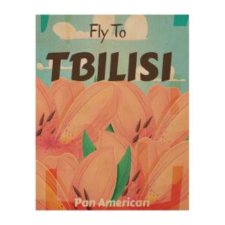 Poster del viaje del vintage de Tbilisi Georgia Impresiones En Madera