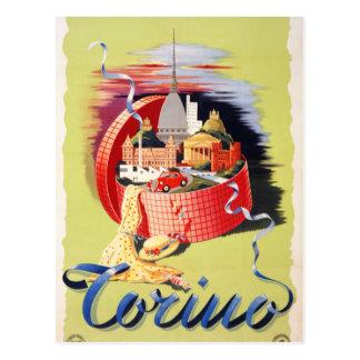 Poster del viaje del vintage de Torino Turín Postal