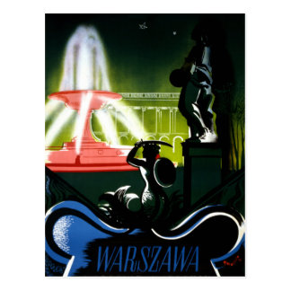 Poster del viaje del vintage de Varsovia Polonia Postal