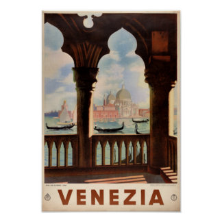 Poster del viaje del vintage de Venecia Venezia Póster