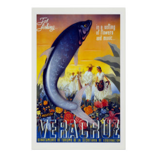 """Poster del viaje del vintage de """"Vera Cruz"""""""