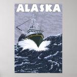Poster del viaje del vintage del barco de AlaskaCr