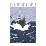 Poster del viaje del vintage del barco de AlaskaCr Impresión En Lona Estirada