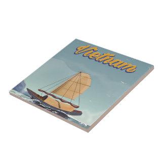 Poster del viaje del vintage del barco de pesca de azulejo cuadrado pequeño