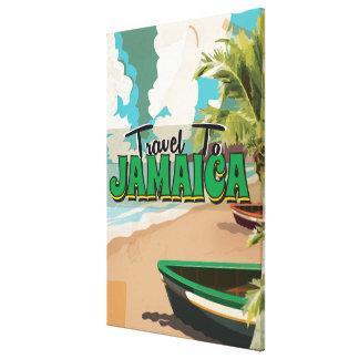 Poster del viaje del vintage del boda de Jamaica Lienzo Envuelto Para Galerías