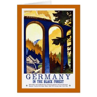 Poster del viaje del vintage del bosque negro de tarjeta de felicitación