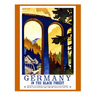 """Poster del viaje del vintage del bosque negro de  Postal"