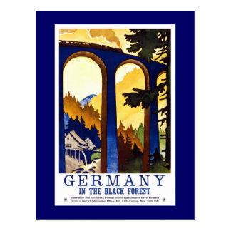 Poster del viaje del vintage del bosque negro de tarjetas postales