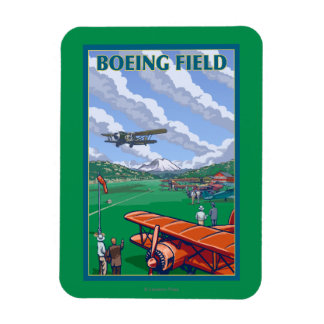 Poster del viaje del vintage del campo de Boeing Imán Flexible