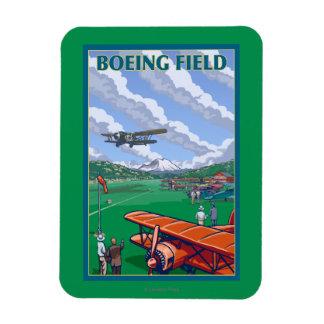 Poster del viaje del vintage del campo de Boeing Imanes Rectangulares
