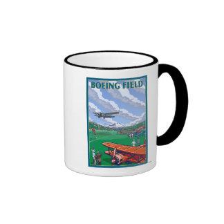 Poster del viaje del vintage del campo de Boeing Taza