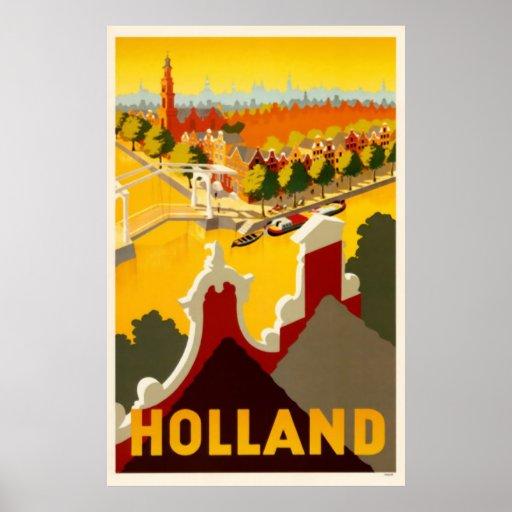 Poster del viaje del vintage del canal el | de Hol Póster
