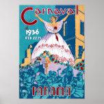 Poster del viaje del vintage del carnaval de