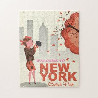 Poster del viaje del vintage del Central Park de Rompecabeza
