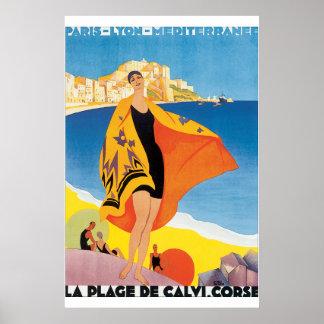 Poster del viaje del vintage del de Calvi Corse