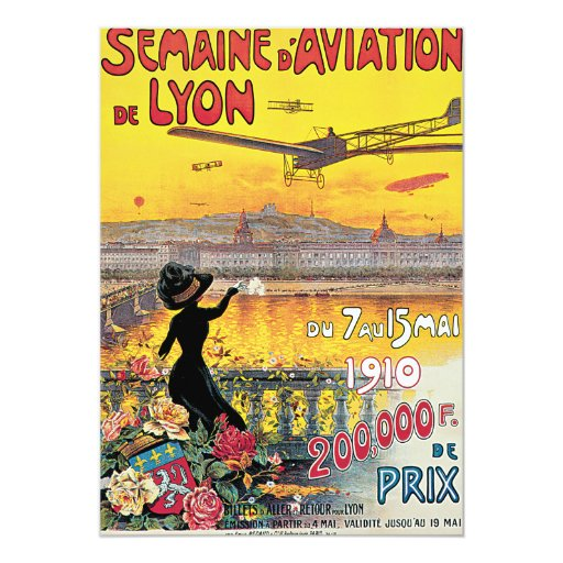 """Poster del viaje del vintage del de Lyon de la Invitación 5"""" X 7"""""""