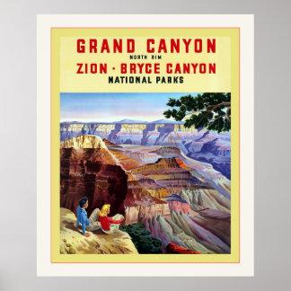 Poster del viaje del vintage del del Gran Cañón