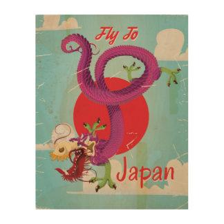Poster del viaje del vintage del dragón de Japón Cuadros De Madera