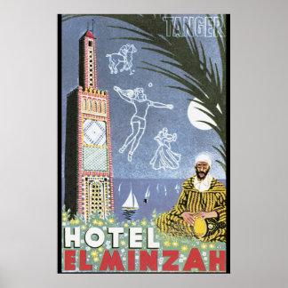 Poster del viaje del vintage del EL Minzah del Póster
