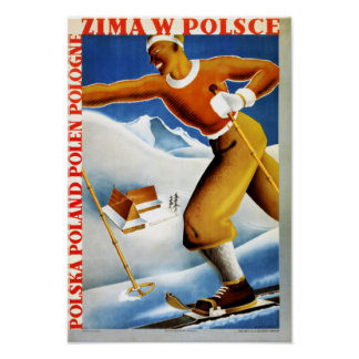 Poster del viaje del vintage del esquí de Polonia