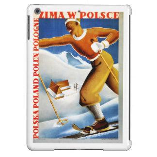 Poster del viaje del vintage del esquí de Polonia Funda Para iPad Air