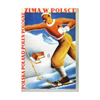 Poster del viaje del vintage del esquí de Polonia Lienzo Envuelto Para Galerías