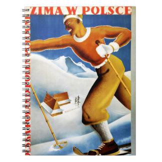 Poster del viaje del vintage del esquí de Polonia Notebook