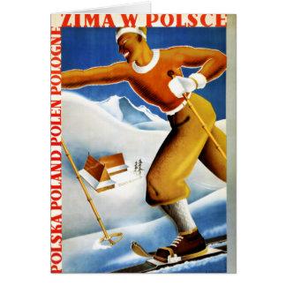 Poster del viaje del vintage del esquí de Polonia Tarjeta De Felicitación
