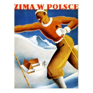 Poster del viaje del vintage del esquí de Polonia Tarjetas Postales
