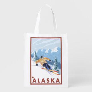 Poster del viaje del vintage del esquiador de la bolsas de la compra