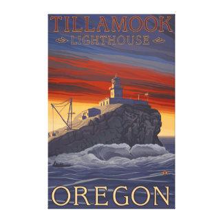 Poster del viaje del vintage del faro de Tillamook Impresión De Lienzo