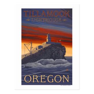 Poster del viaje del vintage del faro de Tillamook Postal