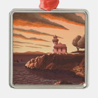 Poster del viaje del vintage del faro del horno de adorno navideño cuadrado de metal