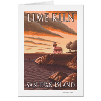 Poster del viaje del vintage del faro del horno de tarjeta de felicitación