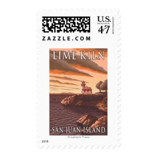 Poster del viaje del vintage del faro del horno de timbre postal