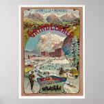 Poster del viaje del vintage del Invierno-Deporte