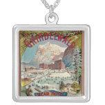 Poster del viaje del vintage del Invierno-Deporte  Collar Personalizado