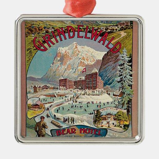 Poster del viaje del vintage del Invierno-Deporte Ornamento Para Arbol De Navidad