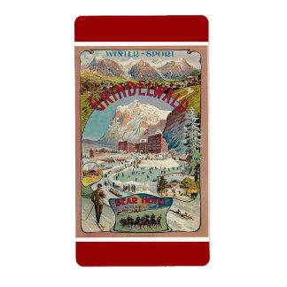 Poster del viaje del vintage del Invierno-Deporte Etiquetas De Envío