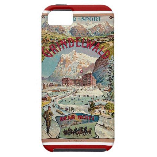 Poster del viaje del vintage del Invierno-Deporte Funda Para iPhone 5 Tough