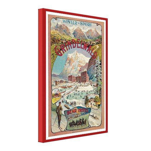Poster del viaje del vintage del Invierno-Deporte  Impresión En Lona Estirada